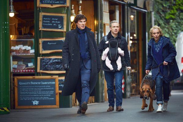 Picture shows: Sherlock Holmes (BENEDICT CUMBERBATCH), John Watson (MARTIN FREEMAN) and Mary Watson (AMANDA ABBINGTON)
